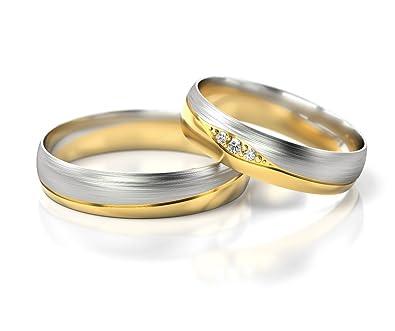 bc35c4266512 Ringe-der-Welt Anillos De Boda Oro Blanco Oro amarillo S-725BZ  Amazon.es   Joyería
