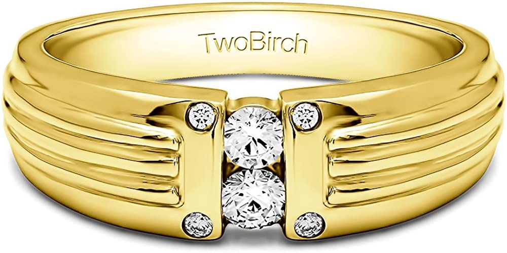 Yellow Silver Mens Wedding Ring Forever Brilliant Moissanite 0.25Ct Size 3 to 15 in 1//4 Size Intervals