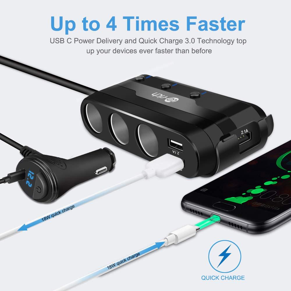 Amazon.com: Adaptador de mechero USB cargador de coche ...