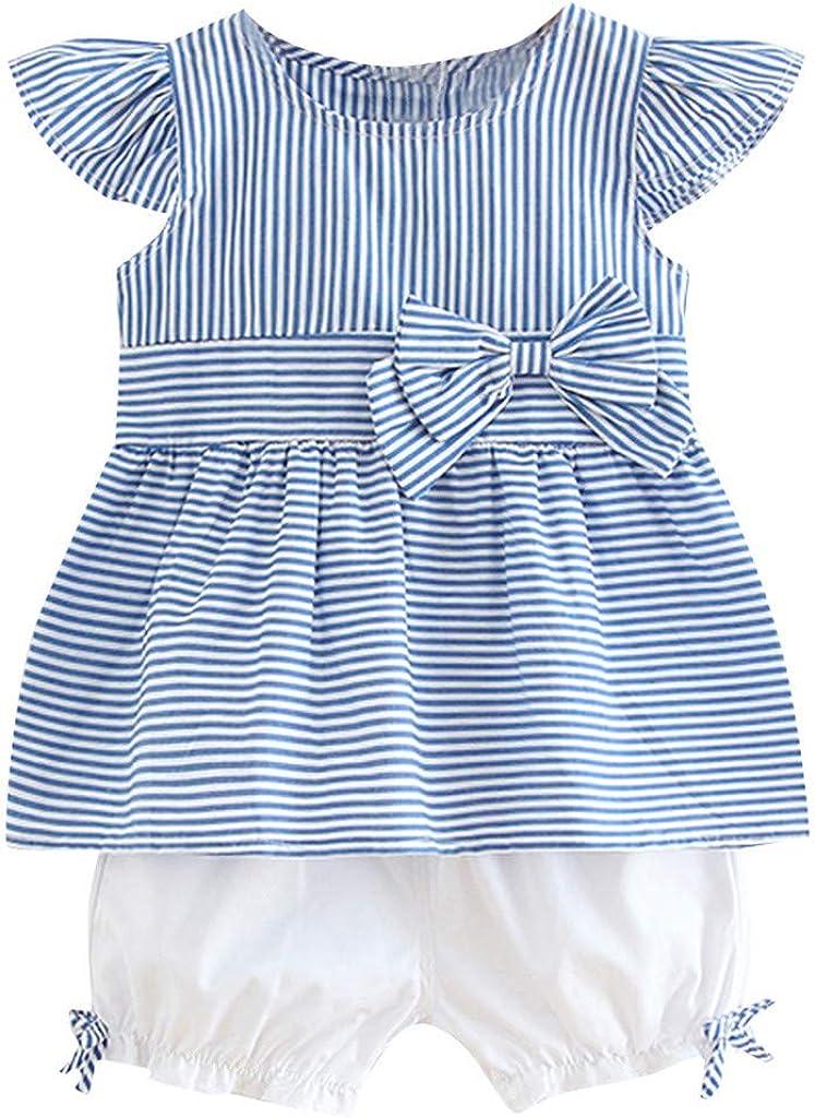 Newborn Baby Girls Big Bow Stripes Off Shoulder Tops T-shirt Shorts Pants  Set