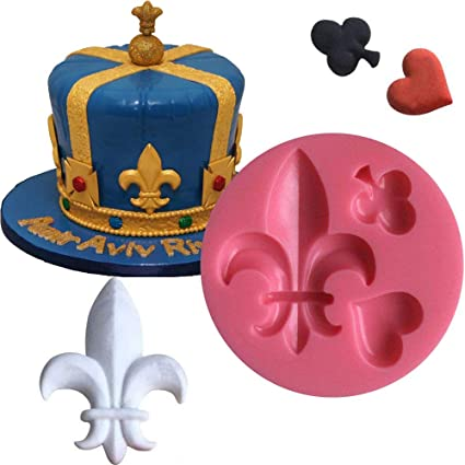 Anyana Heart fleur de lys silicone mould cake Fondant poker gum paste mold for Sugar paste