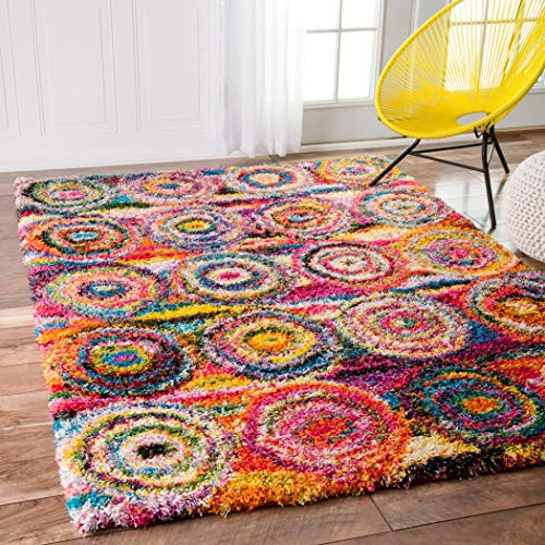 D&D 4' x 6' Rainbow Abstract Circles Shag Color Area Rug, Polypropylene Bright Geometric Splash Shaggy Swirling Pattern Geometric Medalion Cute Kids Tween Indoor Bedroom Living Room Accent Carpet