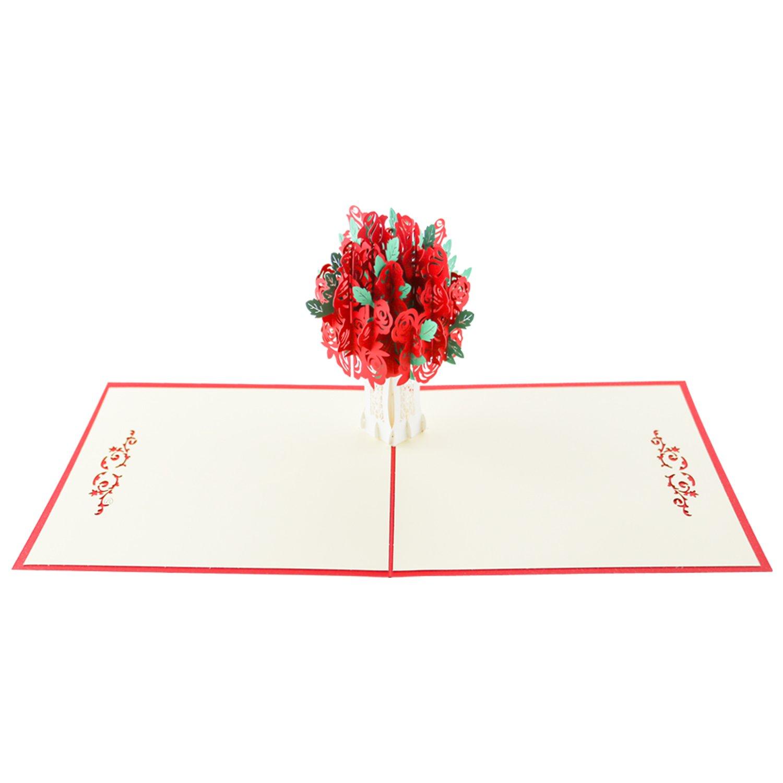 Zombie 3D Flower Pop Up Card, Red Rose Blossom Pop Up Biglietto di Auguri 15 * 15 CM per la Mamma Regalo di Compleanno, Compleanno + Busta Bianca Zmoon