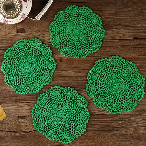 ZORJAR Heat-Resistant Placemats for Kitchen Coasters Doilies Round Handmade Crochet Lace Cotton Lace Table Glass Coffee 7 Inch Set of 4 (Green) ()