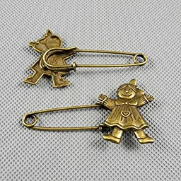 40 PCS Jewelry Making Charms Findings Supply Supplies Crafting Lots Bulk Wholesale Antique Bronze Tone Plated 03237 Girl Safety Pins Brooch