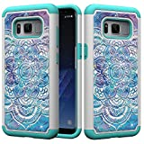 for S8 Samsung Glitter Case and Screen Protector,QFFUN Bling Crystal Diamonds Soft Silicone Hard Plastic Back Hybrid Double Layer 2 in 1 Anti-Scratch Protective Cover - Mandala