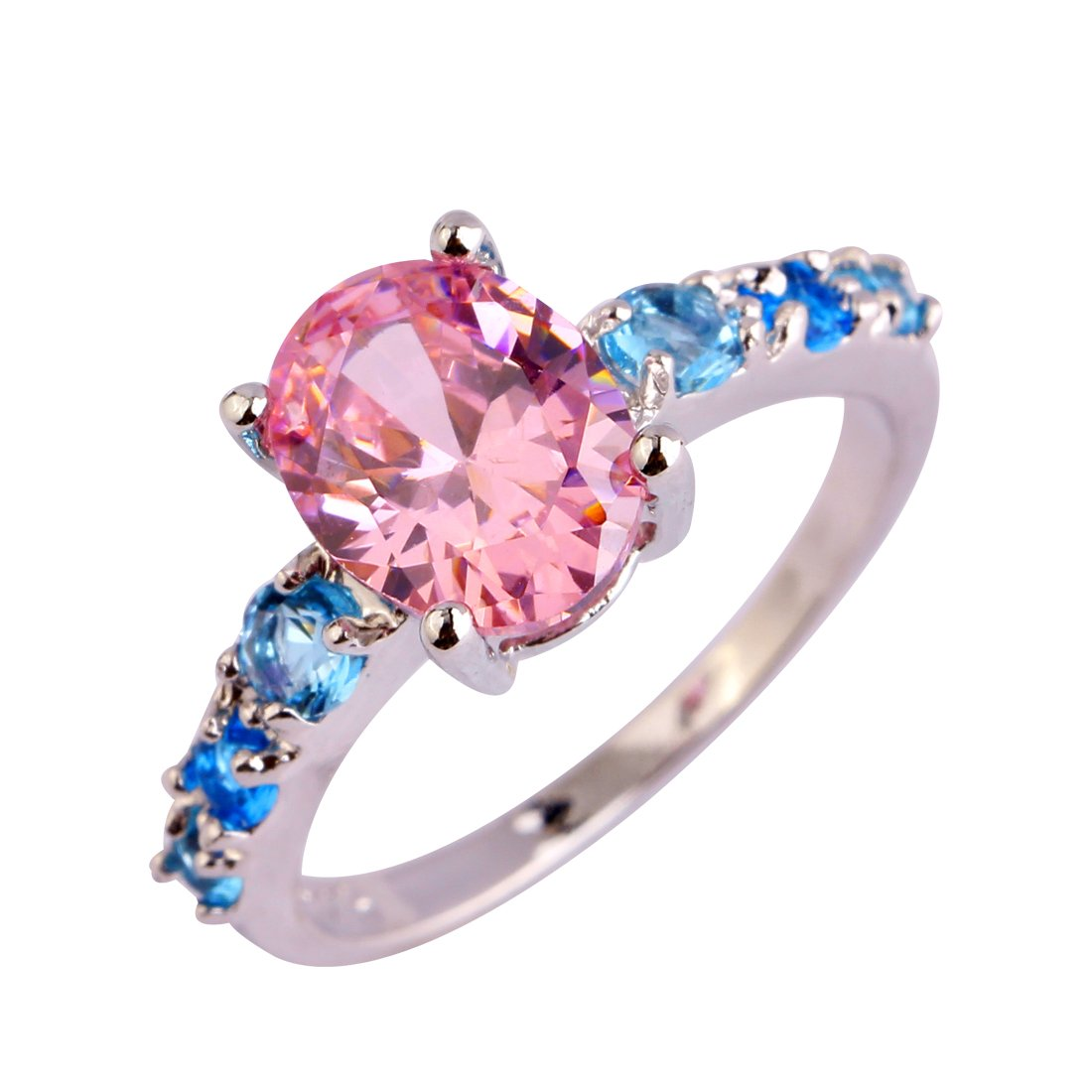 Narica Womens Brilliant 7mmx9mm Oval Cut Pink Topaz CZ Ring Band