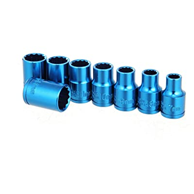 "Hyper Tough 8-Piece 3/8"" Drive Anodized Blue Metric Socket Set - 12 Point: Home Improvement [5Bkhe0800209]"