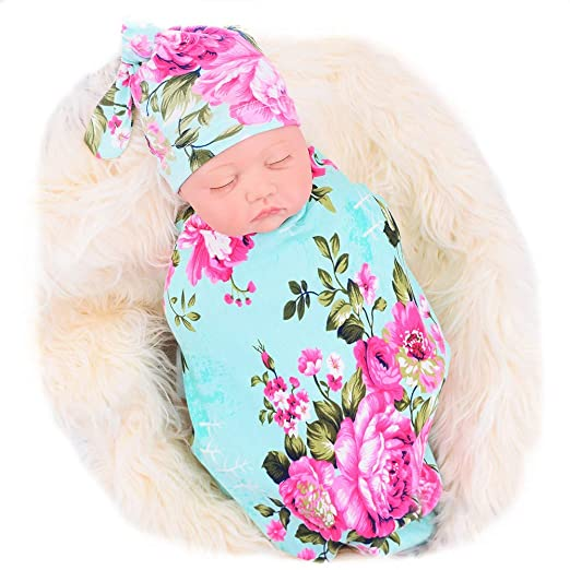Galabloomer Newborn Receiving Blanket Hat Set Flower Print Baby Swaddle  Receiving Blankets 9c667adc4