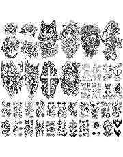 Yazhiji 40 arkuszy, duże, seksowne kwiaty, kolekcja wodoodpornych, tymczasowych tatuaży dla kobiet i dziewcząt.