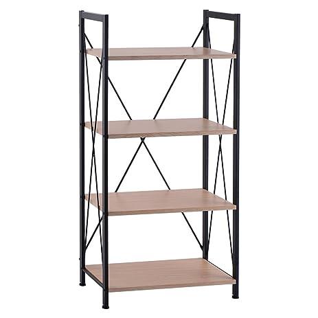 Giantex 4 Tire Wooden Bookshelf Bookcase Steel Storage Display Shelf Furniture Home