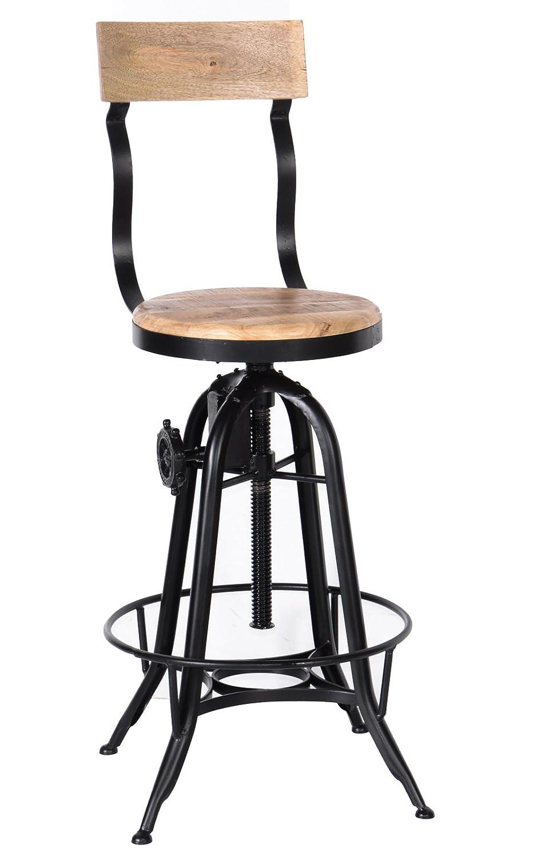 Tabouret de bar industriel rÉglable avec dossier'Atelier grey' Meuble House