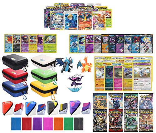 Totem World Pokemon Premium Collection 100 Cards with Tag Team GX Mega EX Trainer or Shining Holo, 10 Rares, 4 Booster Packs, 100 Protector Sleeves, Card Case, Deck Box and Figure (Pokemon Ex Cards For 5 Dollar)