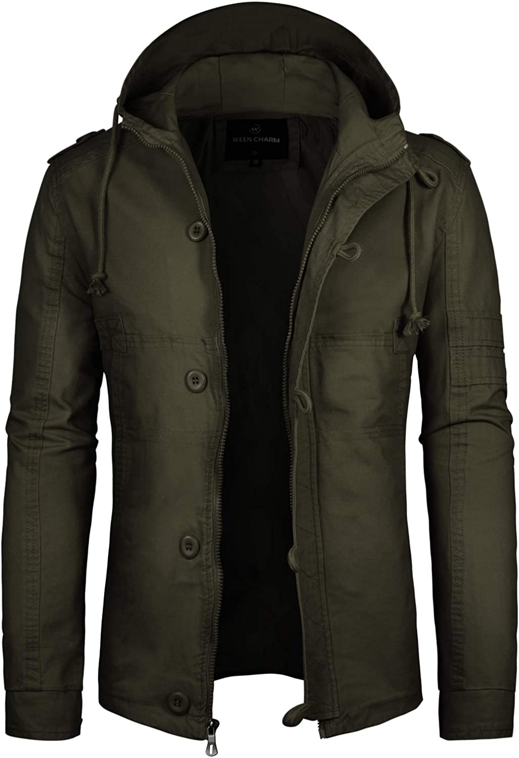 Mens Military Army Field Jacket Lightweight Canvas Cotton Windbreaker Anorak Coat with Hood