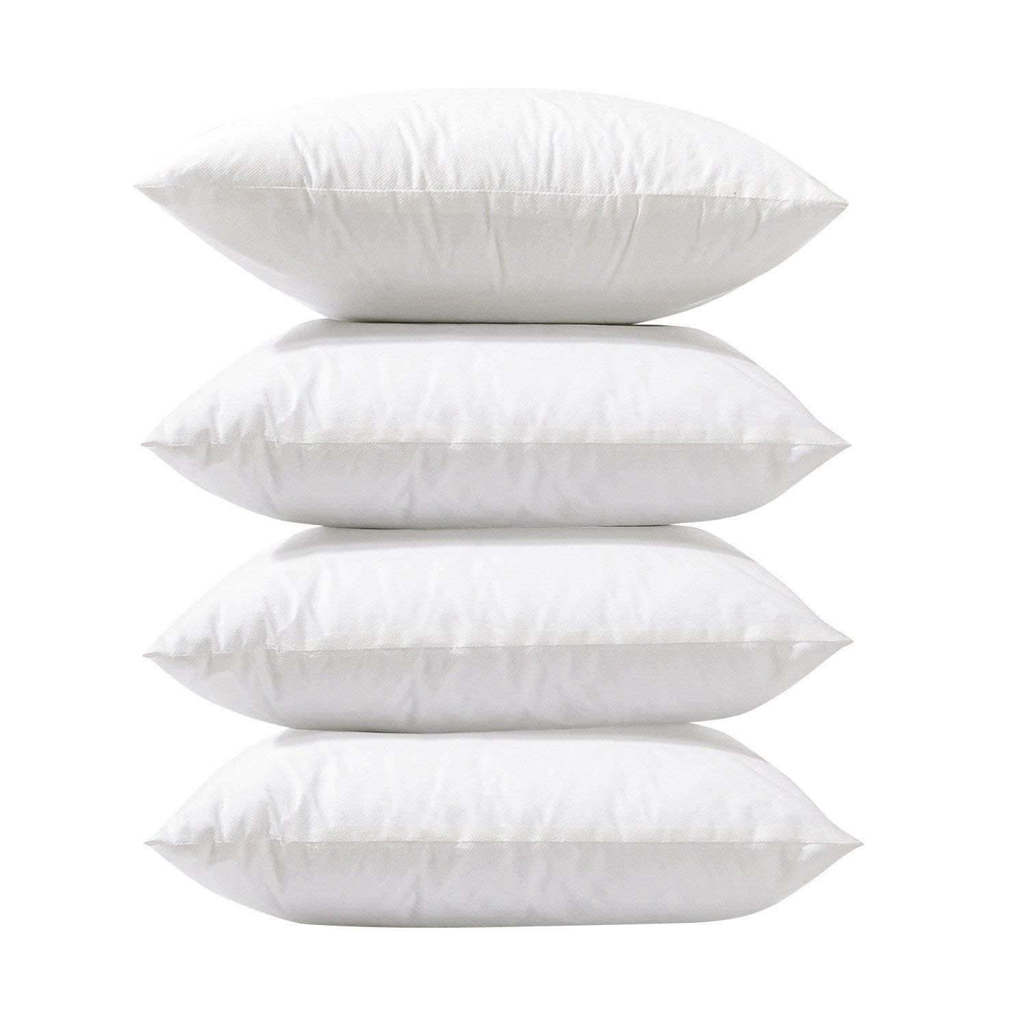 Phantoscope 4 Packs Throw Pillow Inserts Hypoallergenic Square Form Sham Stuffer 18 x 18 inches