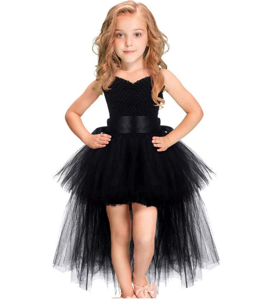 Shiny Toddler Little Girls Spaghetti Straps High-Low Christmas Pageant Dress Sunglass,Black 5-6