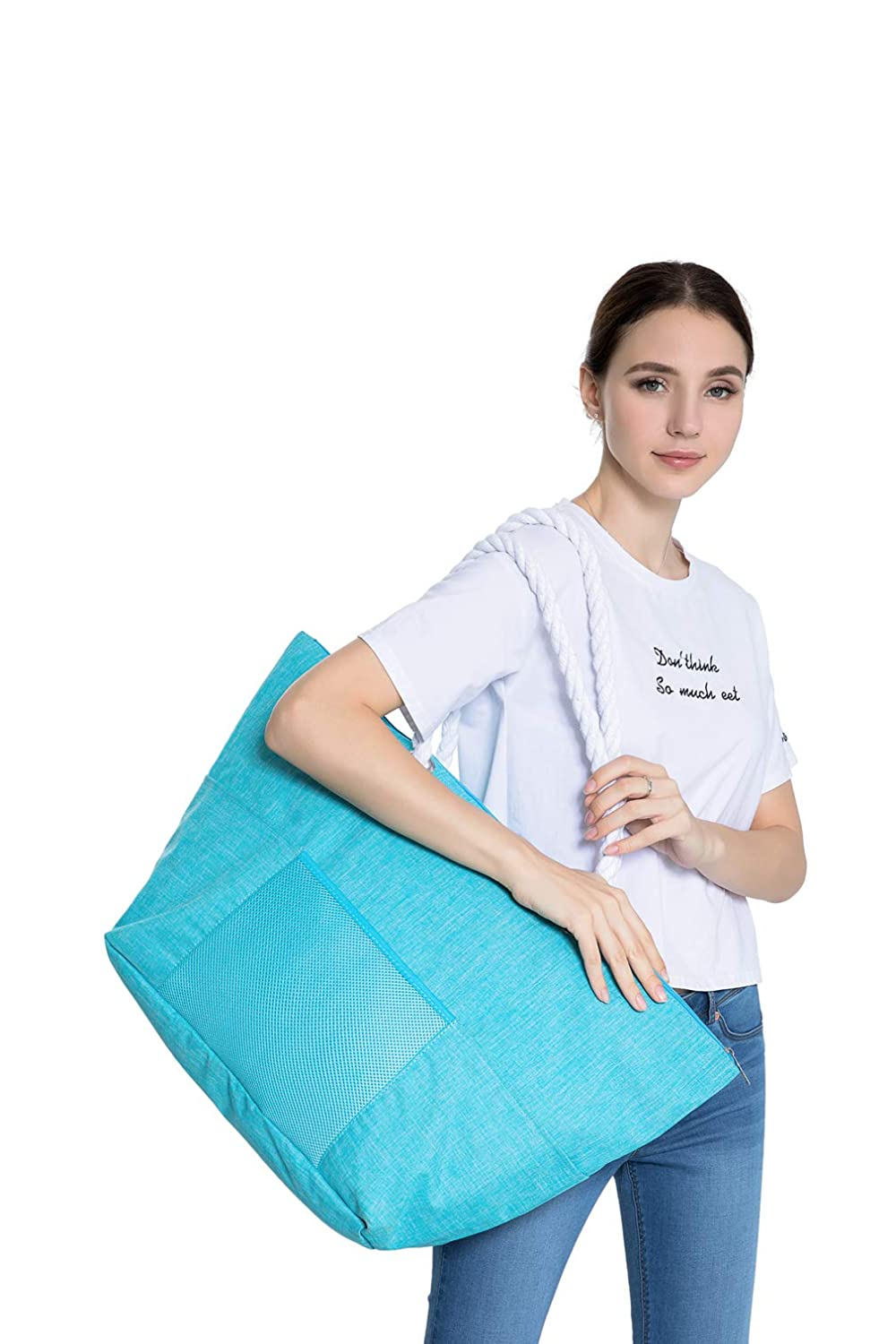 6 Pockets Outside Blue Extra Large Waterproof Beach Tote Bag with Soft Cotton Rope Top Zipper with 2 Inner Pockets