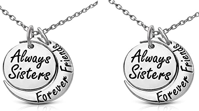 Footnotes $58 Sisters Sterling Silver Necklace Always Sisters Forever Friend