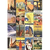 Vacation in Europe - Vintage Style Poster Collage Travel Poster Print, 20x28