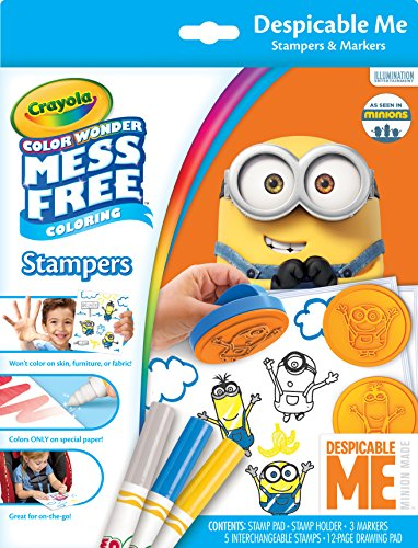 Crayola Color Wonder Despicable Me Mess Free Stampers & Drawing Pad Set Art Gift for Kids & Toddlers 3 & Up, Stamps, Stamp Pad, Paper & Markers, Won't Mark Walls, Clothes or Furniture
