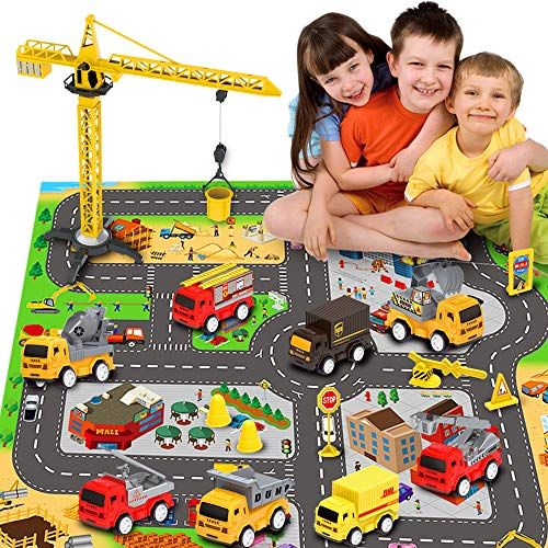 Engineering Construction Vehicles Toys with Play Mat, Toy Trucks, Mini Pull Back Cars Playset, Toy Gift for Boys, Girls, Kids & Toddlers
