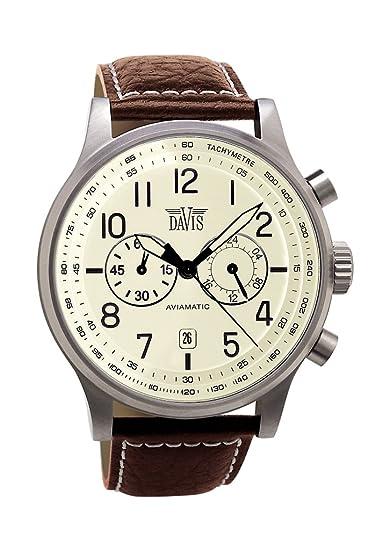 475a7701dbbf Davis-1023- Reloj Hombre Vintage Aviador 42mm - Esfera Crema Cronógrafo  Sumergible 50M - Correa de Piel Marron con pespunte  Amazon.es  Relojes
