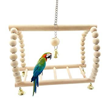 Maus Papagei Vogel Spielzeug Katze Hamster Holz Hängend Haus Swing Spielzeug
