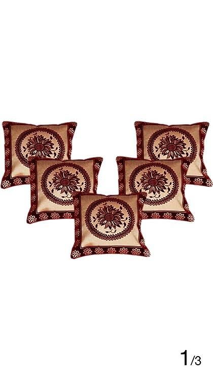 "Buy Self Design Floral Cushion Covers Set Five Pcs 16"" X 16"
