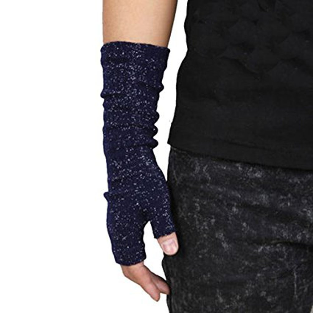 Men's Winter Half-finger Warm Knitted Gloves for Online Typing, Office Work and etc (Navy silver) Z.X.P