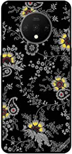 For OnePlus 7 Case Cover Grey Floral Black BG