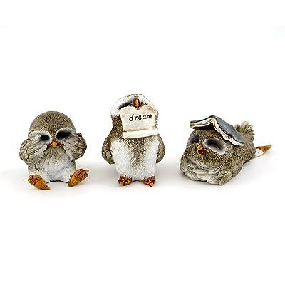 Top Collection Miniature Fairy Garden & Terrarium Cute Little Owls Statue (Set of 3), Small: Garden & Outdoor