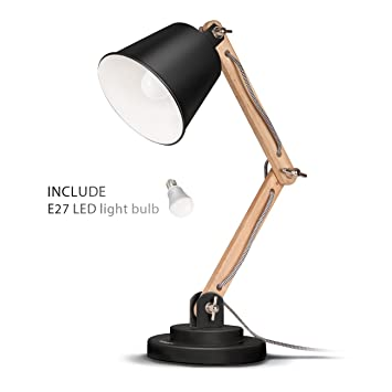 Tomons swing arm desk lamp natural wood table lamp reading tomons swing arm desk lamp natural wood table lamp reading lights work lamp aloadofball Image collections
