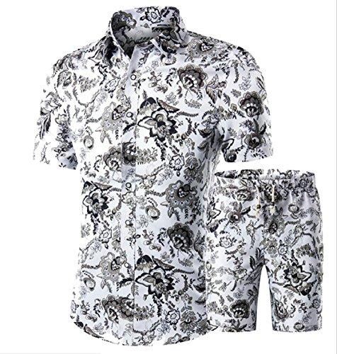 4 au Pantaloncini A Abito Uomini Casuale Parte Camicia Maniche E 2 Qianqian Stampati Dell'arco Corte Zw6d16U