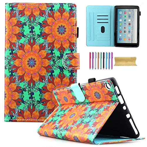 Fire HD 10 Case, AMotie Folio Leather Wallet Smart Cover w/Credit Card Slots & Auto Sleep Wake for All New Fire HD 10.1 inch Tablet (5th and 7th Generation, 2015 & 2017 Release), Orange Flower