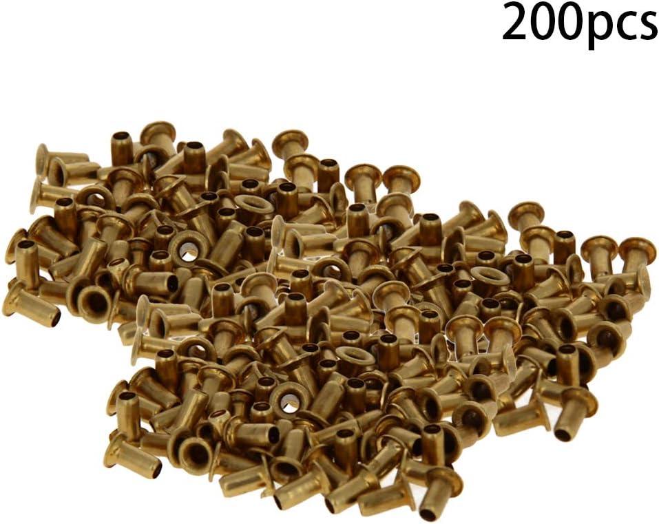 MroMax Copper 100pcs M45 Through Hole Rivets Hollow Grommets PCB Circuit Board Gold Tone