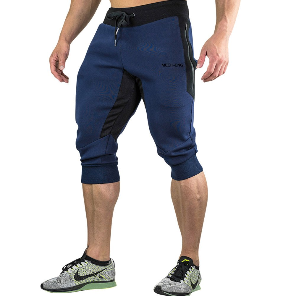 MECH-ENG Men's 3/4 Joggers Pants Workout Gym Capri Shorts Zipper Pockets XIN-37704