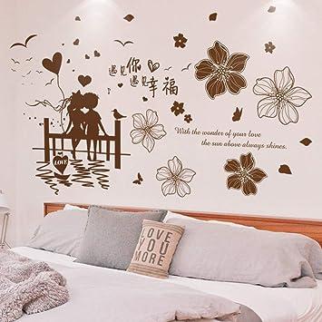 ERDFCV Parejas Etiqueta de la pared Material de PVC DIY Flores ...