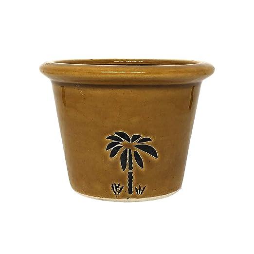 ShopMeFast Handcrafted Ceramic Pots Ceramic Planter for Indoor Plants/Planters,Home Decor,Garden Decor,Office Decor,Decorative Succulent Pot (Color: Dark Yellow)(L:9 cm, W:9 cm, H:8 cm)