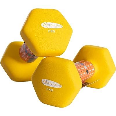 Active Forever Mancuernas hexagonales (par), Mancuernas Antideslizantes Impermeables de Neopreno 2 × 1 kg 2 kg 3 kg 4 kg 5 kg 6 kg 8 kg 10 kg