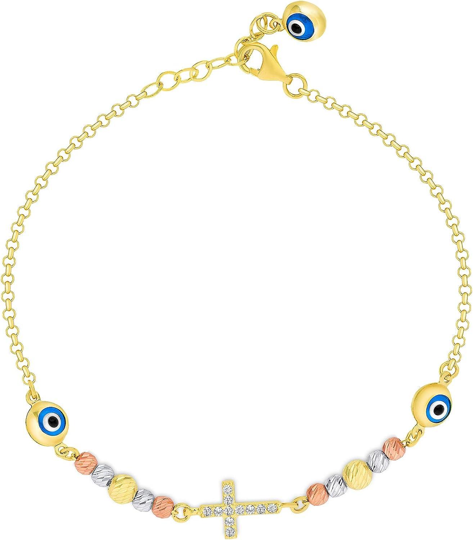 Evil eye bracelet in solid k14 gold with gold cross