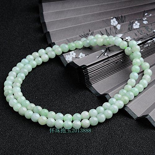 Myanmar natural light green jade beads beaded necklace pendant jade bead necklace pendant women girls models ()