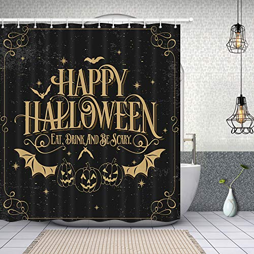 NYMB Happy Halloween Party Decor, Bat with Pumpkin Shower Curtain, Polyester Fabric Waterproof Horror Halloween Festival Bath Curtain, 69X70 in, Shower Curtains Hooks Included, Black(Multi5)