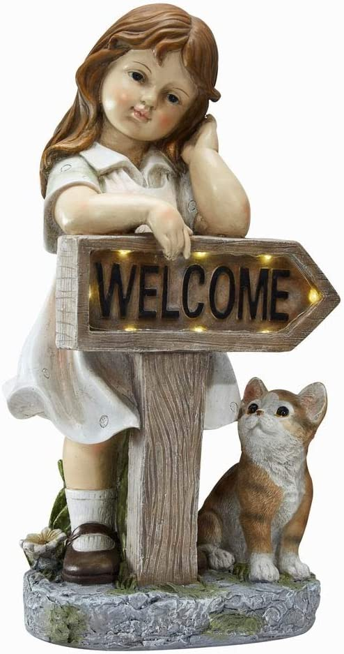 Outdoor Girl Garden Statue with Solar LED Lights, Little Girl with Cat Welcome Statue Garden Statues for Home Decor, Great for Porch, Patio, Yard Art Decorations, Cat Memorial Statues, Polyresin