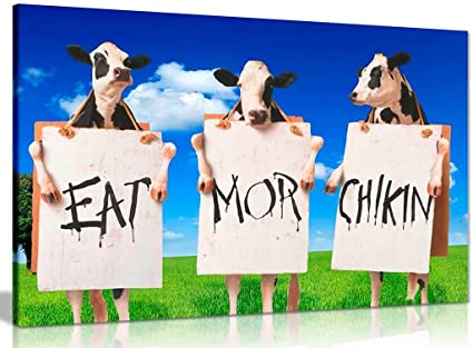graphic relating to Eat Mor Chikin Printable Sign called : Cows Consume Further Chook Signal Estimate Canvas Wall Artwork