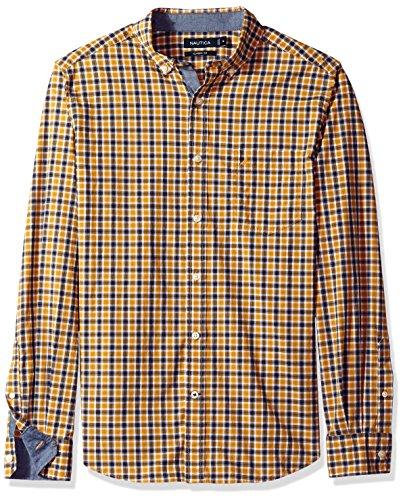 Nautica Men's Classic Fit Stretch Plaid Long Sleeve Button Down Shirt, Yellow/Gold, Medium