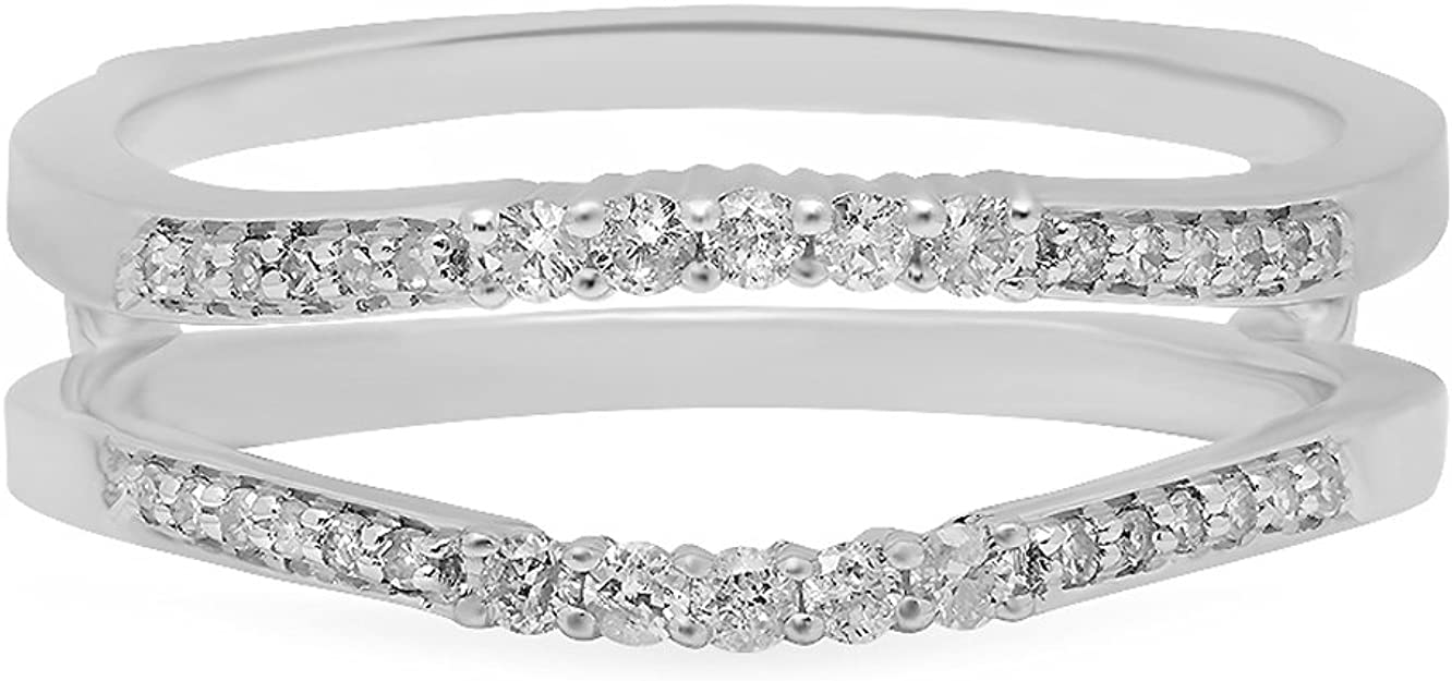 PB Collection 14K White Gold Over 925 Sterling Silver Art Deco Ladies Anniversary Guard Double Ring