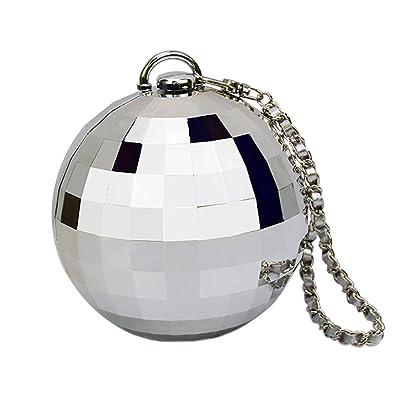 QZUnique Women s Mini Round Ball Shape Chain Purse Evening Bag Clutches  Handbag Silver 86e9d9a2fa2b