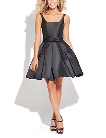 Vanial Short Satin Homecoming Dress Juniors Prom Dresses 2017 Black Size 2