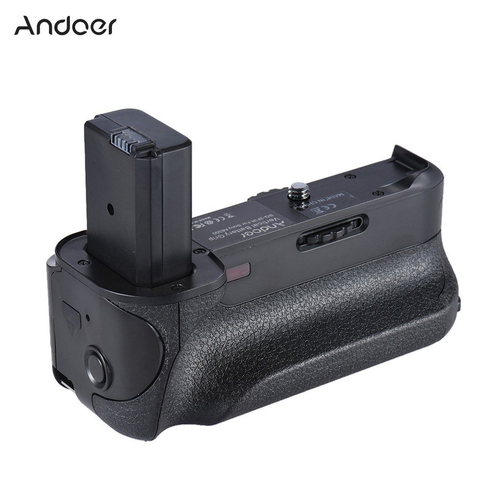 Andoer BG-3FIR Vertical Battery Grip IR Infrared Remote Control with Micro USB Charging Port Compatible with 2 NP-FW50 Battery for Sony A6300 ILDC Mirroless Camera