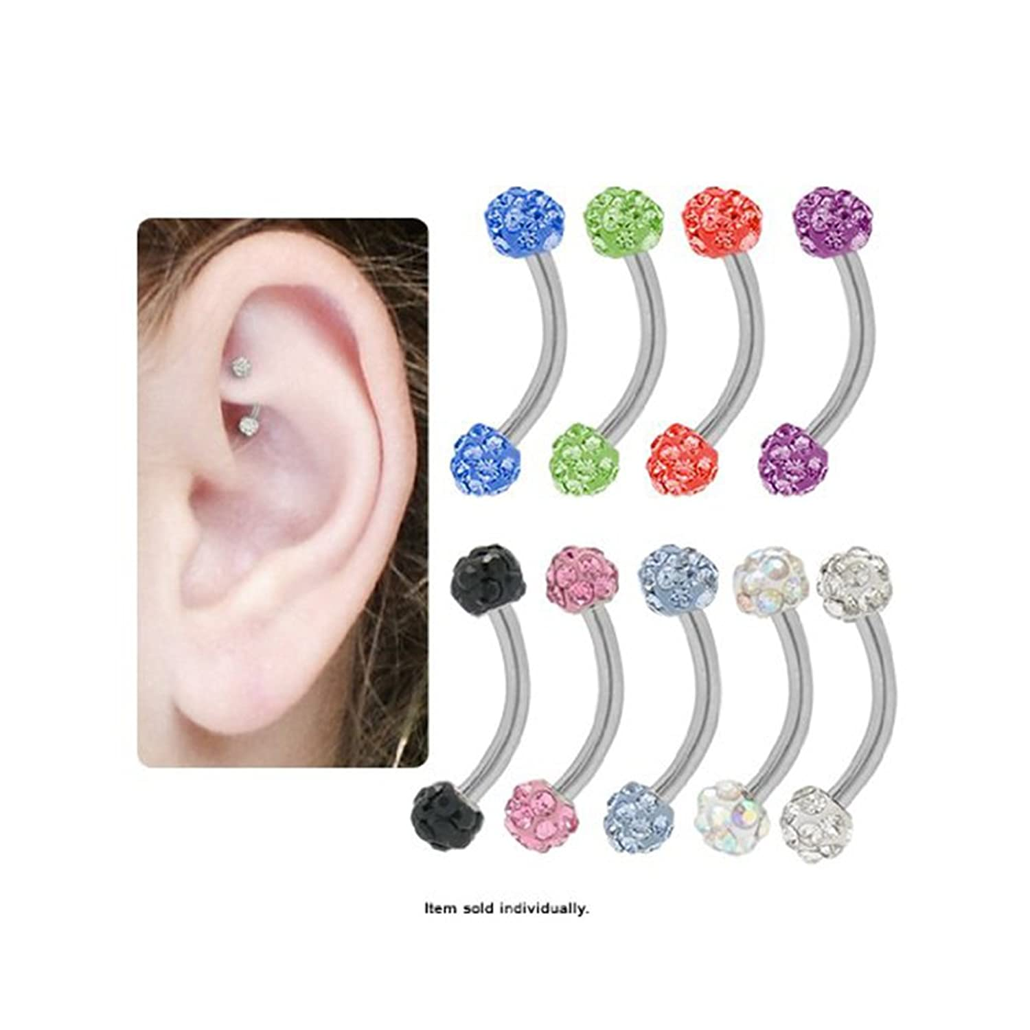 Amazon Surgical Steel Curved Barbell Rook Earring with Cz